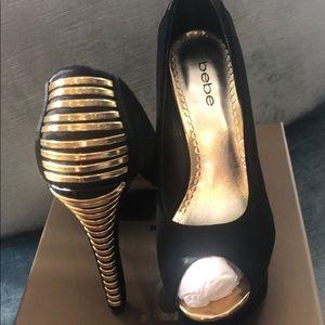 Bebe Black Suede/Gold Lacing up Heel, Sz 8,NWT